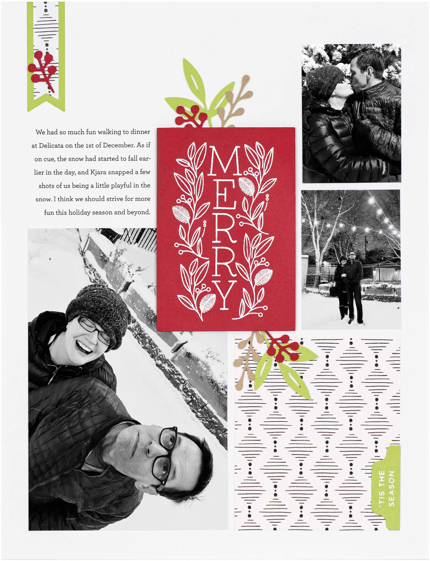 Scrapbook & Cards Today - Winter 2019 - Merry layout by Cathy Zielske