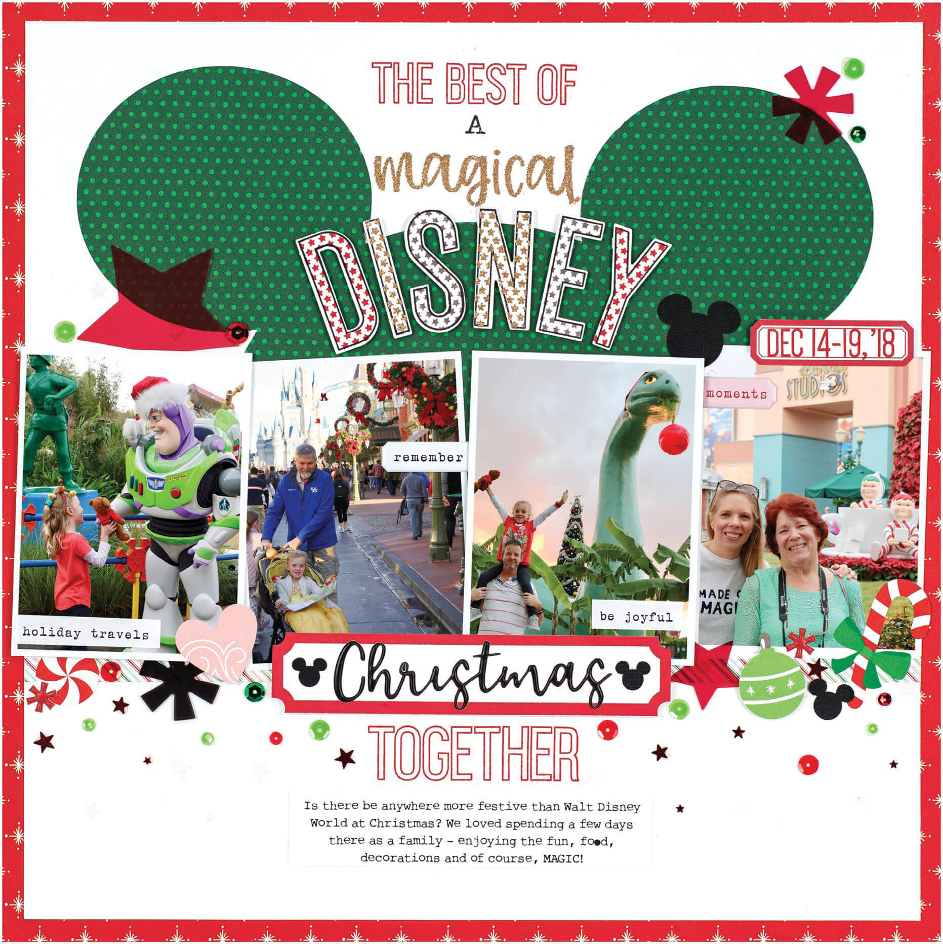 Scrapbook & Cards Today - Winter 2019 - Magical Disney Christmas Together layout by Meghann Andrew