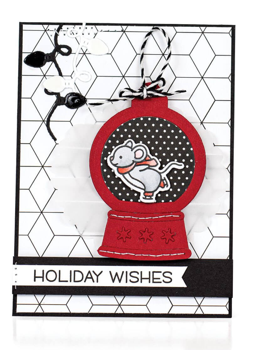 Scrapbook & Cards Today - Winter 2019 - Holiday Wishes card by Jill Dewey Hawkins