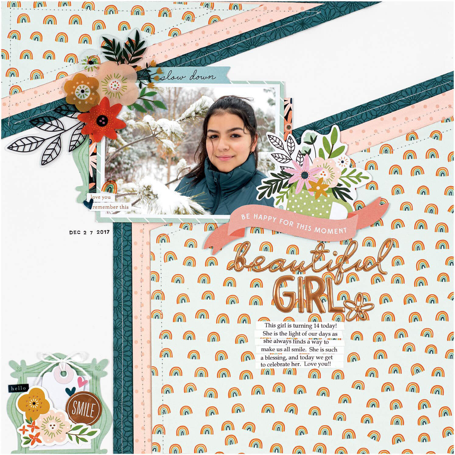 Scrapbook & Cards Today - Winter 2019 - Beautiful Girl layout by Nathalie Desousa