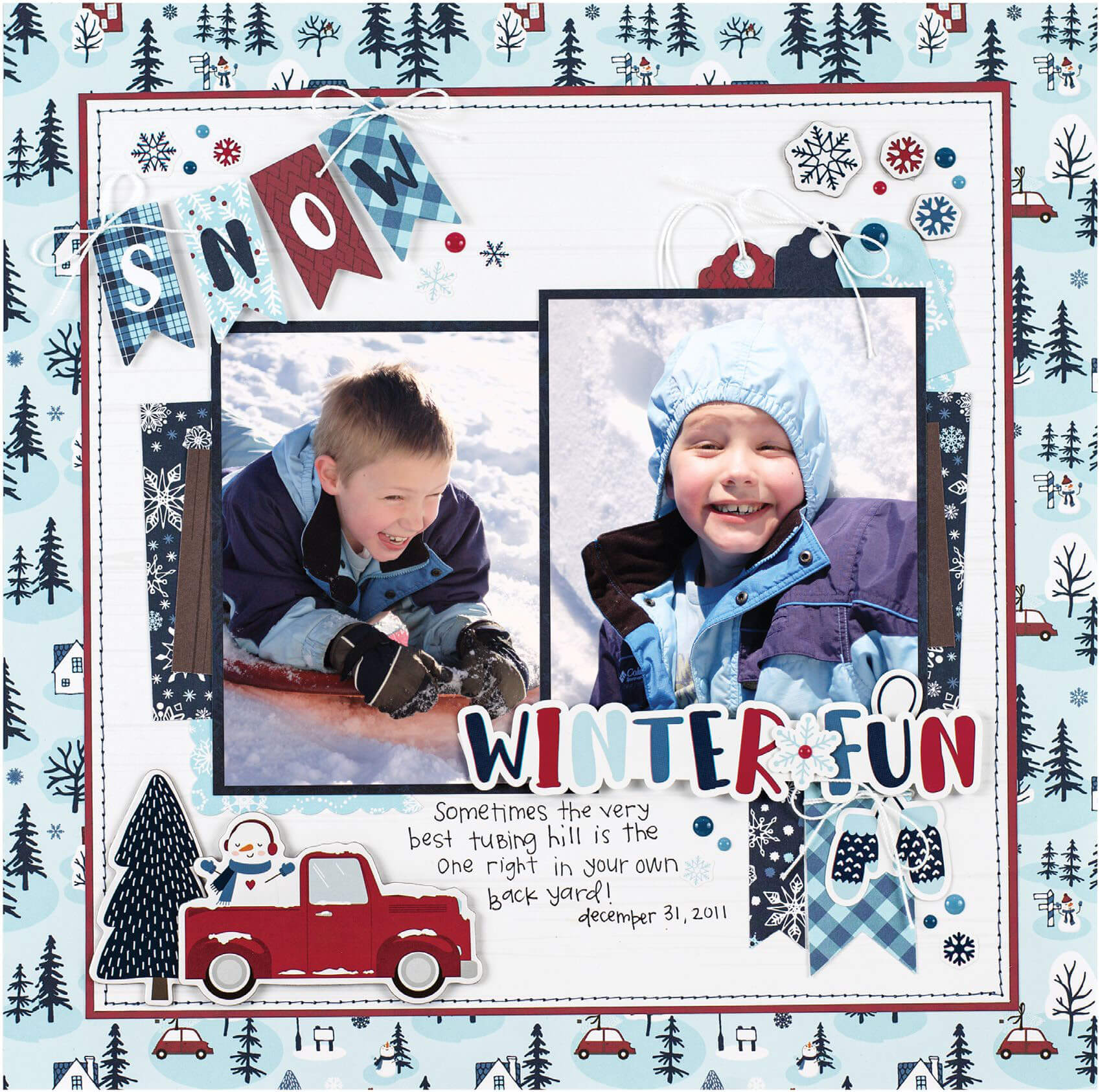 Scrapbook & Cards Today - Winter 2019 - Winter Fun layout by Wendy Sue Anderson