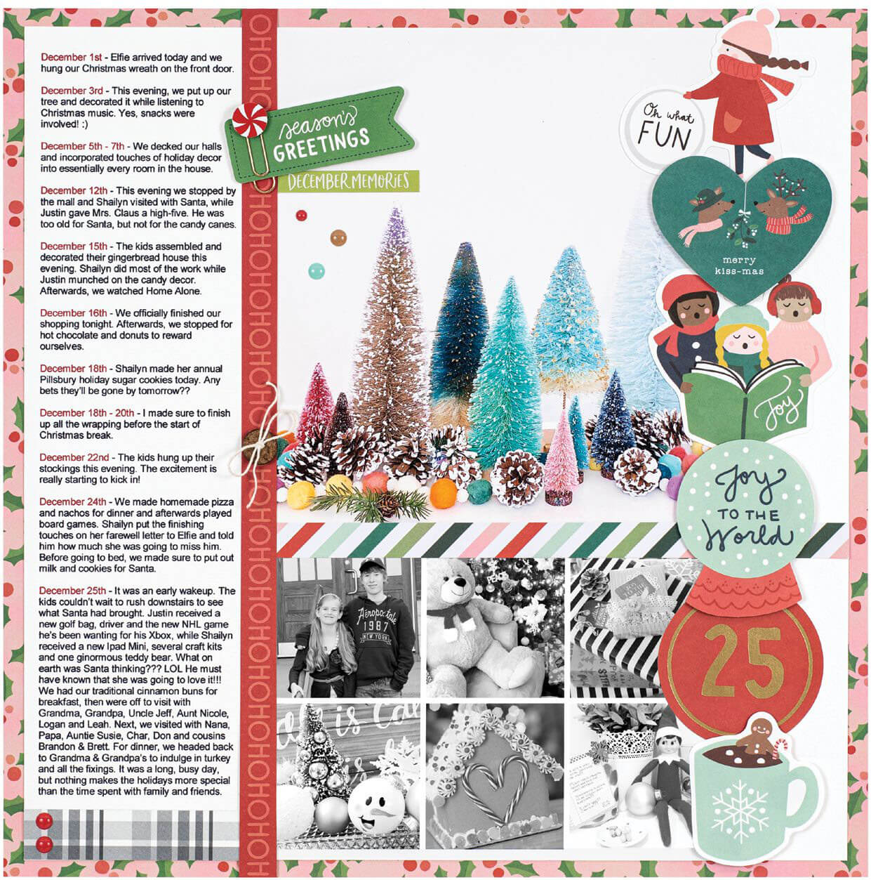 Scrapbook & Cards Today - Winter 2019 - Joy To The World layout by Sheri Reguly