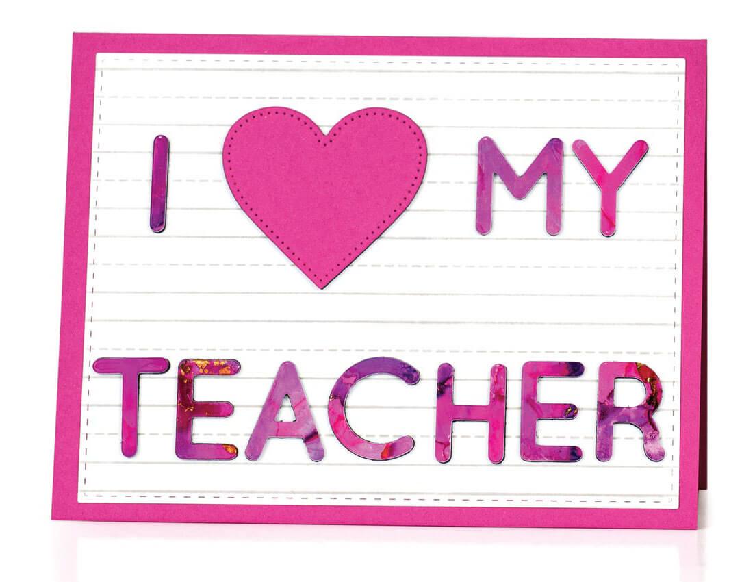 Scrapbook & Cards Today - Winter 2019 - I Heart My Teacher card by Michelle Peckham
