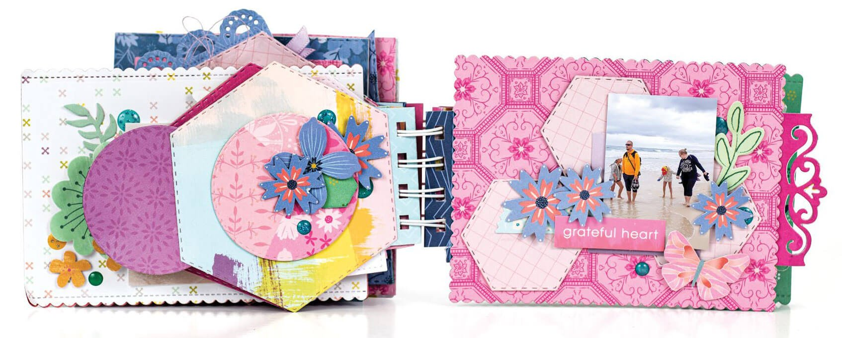 Scrapbook & Cards Today - Winter 2019 - Blue Butterfly and Rainbow Mini Album by Terhi Koskinen