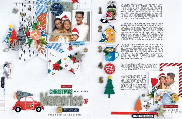 Scrapbook & Cards Today - Winter 2019 - Christmas Memories layout by Kim Watson