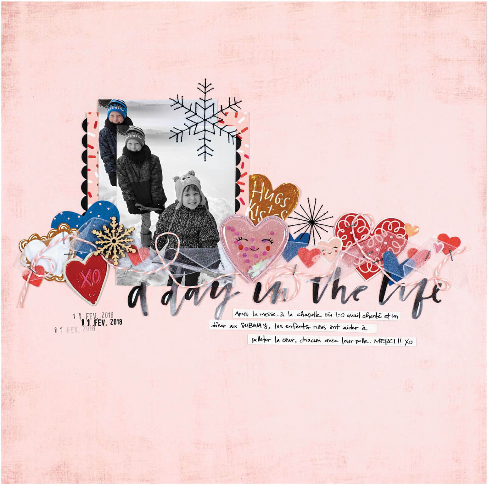 Scrapbook & Cards Today - Winter 2019 - A Day in the Life layout by Aurelie Cormier