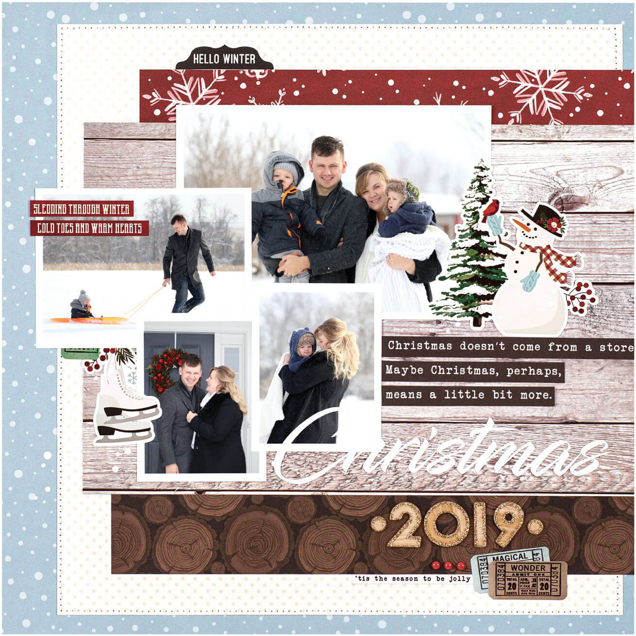 Scrapbook & Cards Today - Winter 2019 - Christmas 2019 layout by Anya Lunchenko