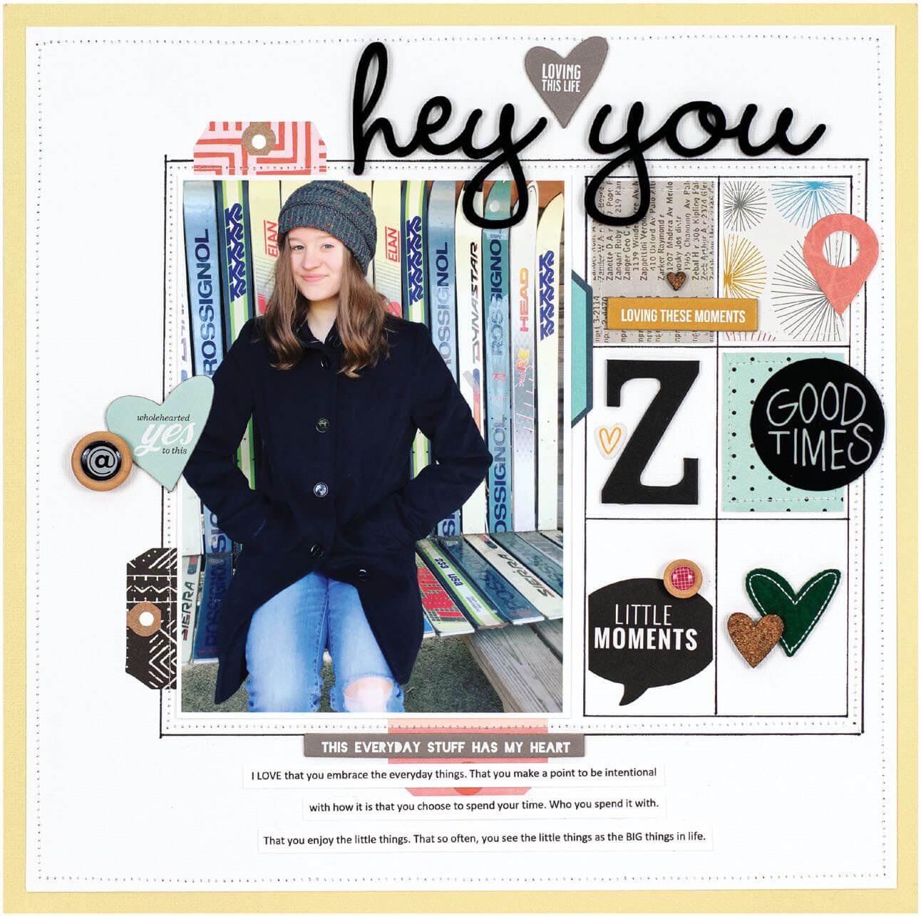 Scrapbook & Cards Today - Winter 2019 - Hey You layout by Jenn Davis