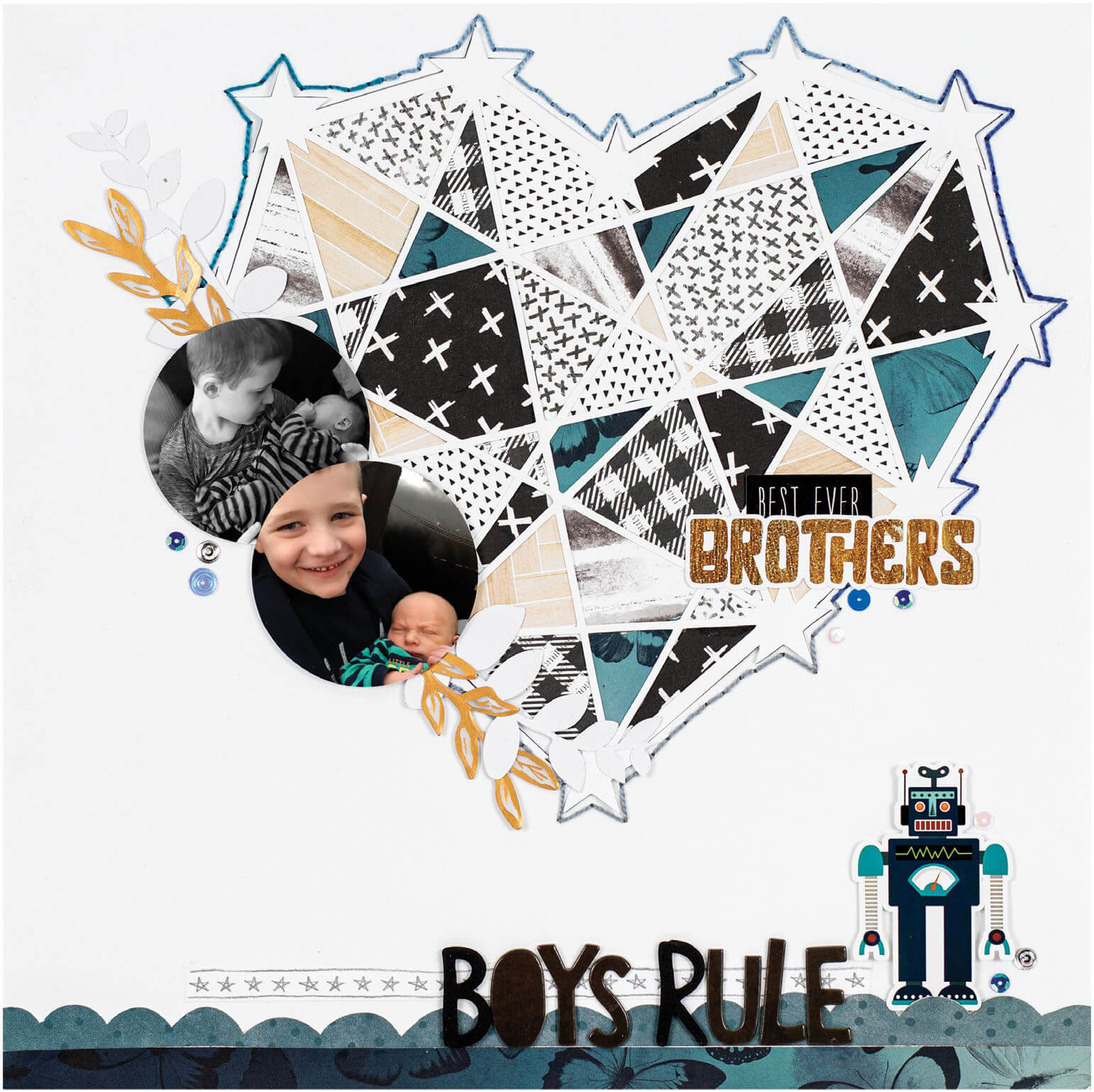 Scrapbook & Cards Today - Winter 2019 - Boys Rule layout by Christy Harriman