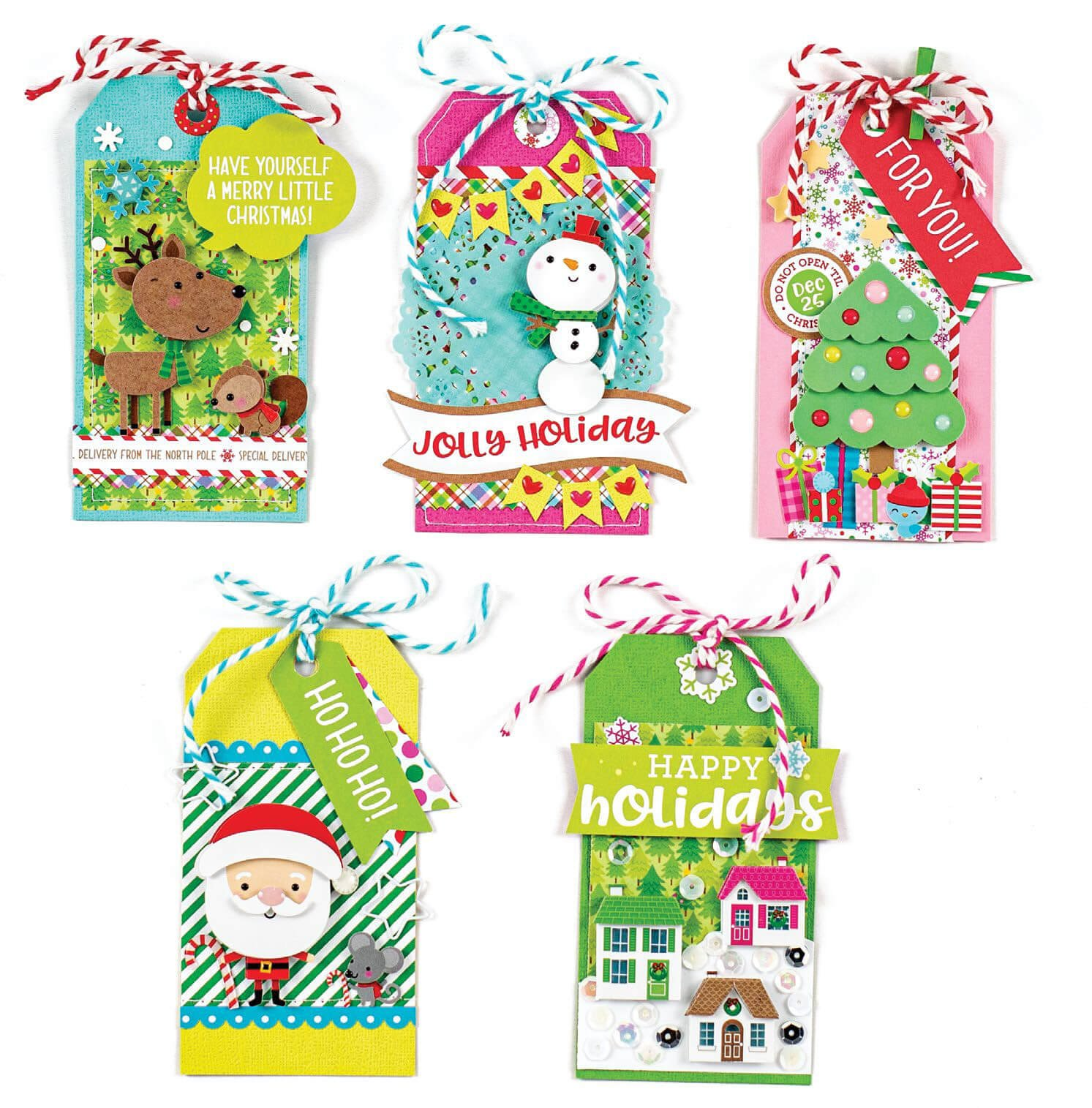 Scrapbook & Cards Today - Winter 2019 - Festive Gift Tags by Nathalie Leonelli