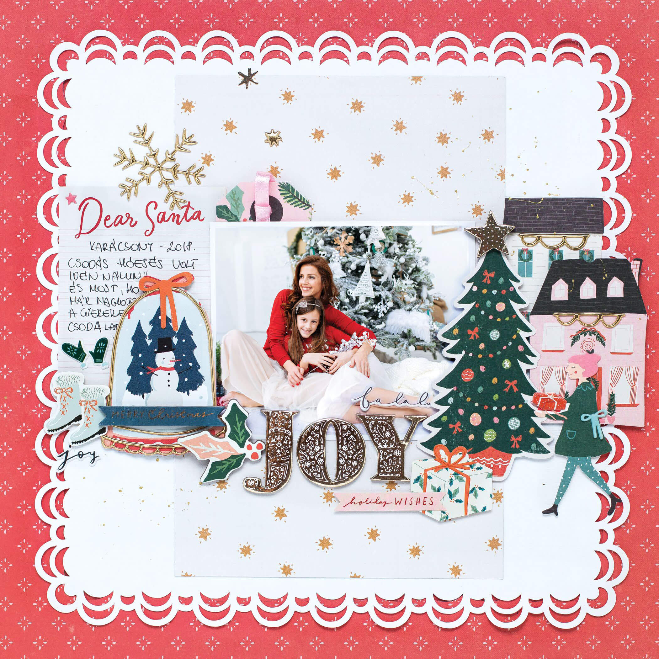 Scrapbook & Cards Today - Winter 2019 - Joy layout by Bea Valint