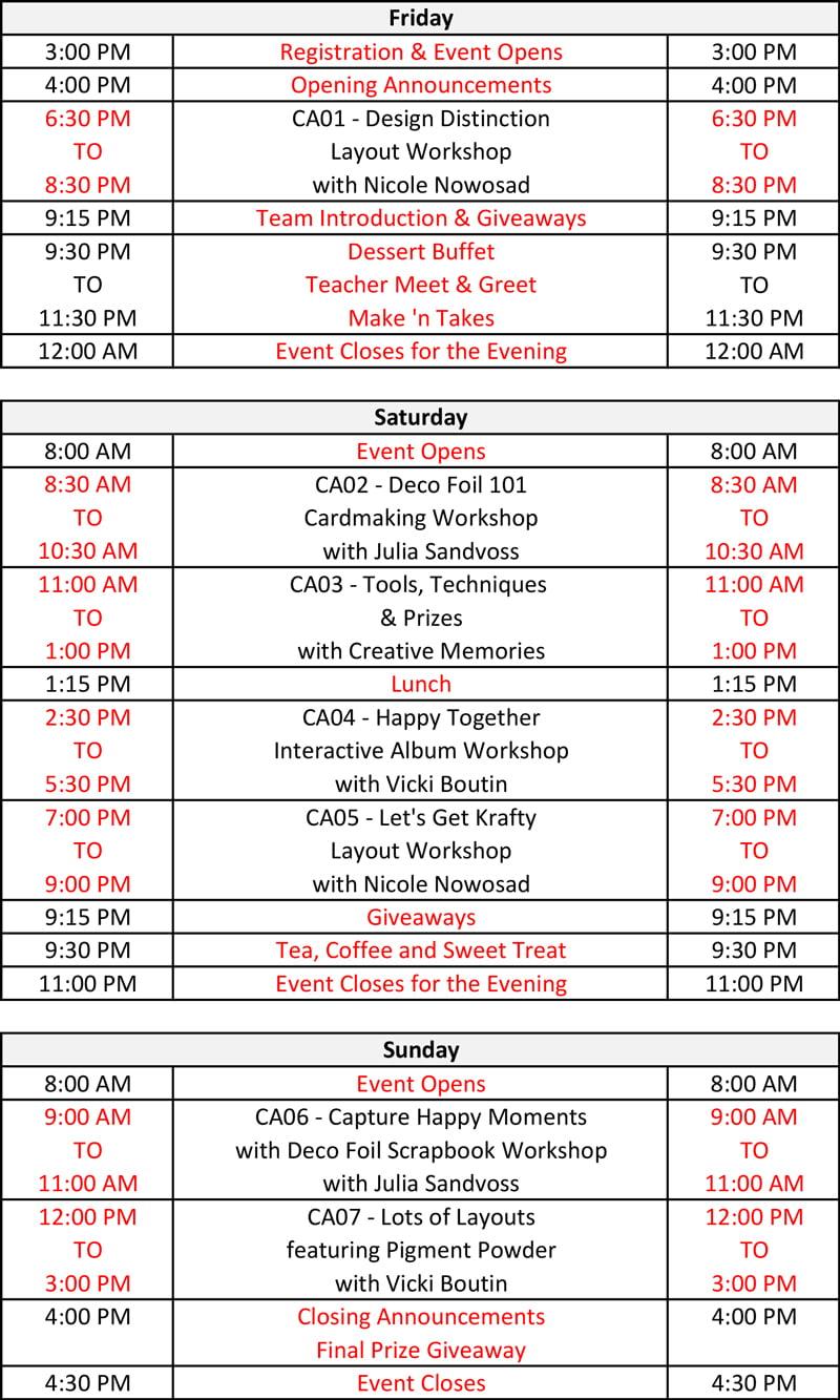 Crop & Create - Calgary 2020 Schedule