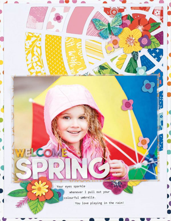 Scrapbook & Cards Today - Spring 2020 - Welcome Spring layout by Terhi Koskinen