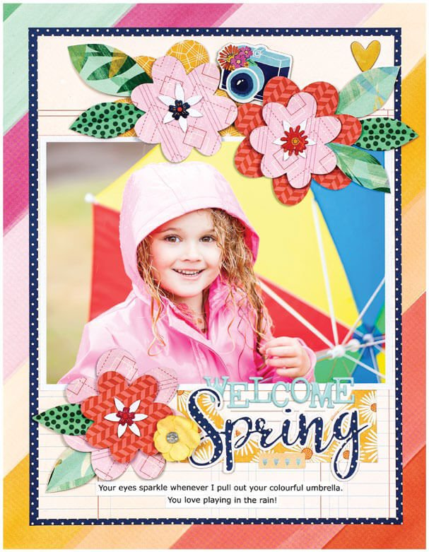 Scrapbook & Cards Today - Spring 2020 - Welcome Spring layout by Bea Valint