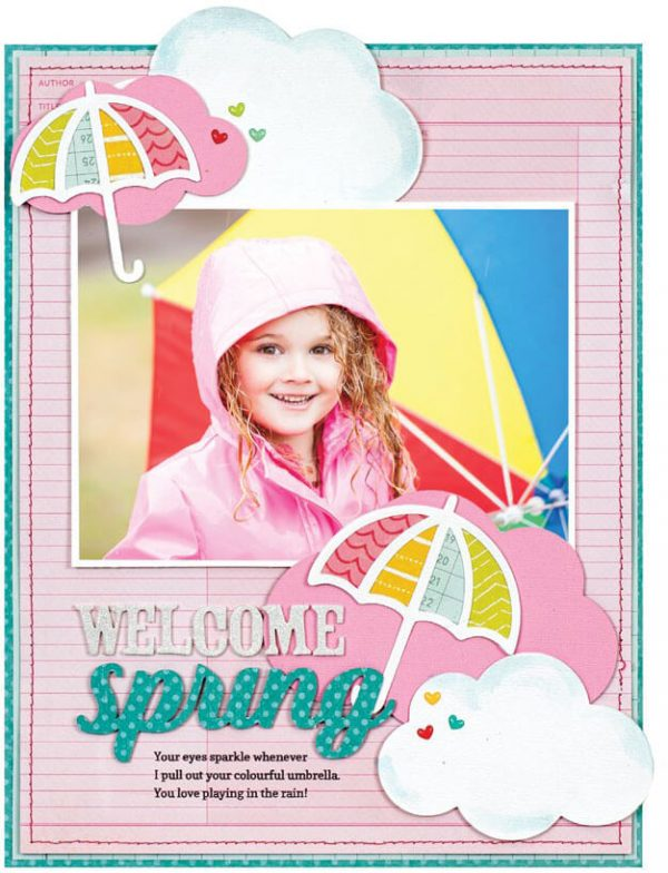 Scrapbook & Cards Today - Spring 2020 - Welcome Spring layout by Lisa Dickinson