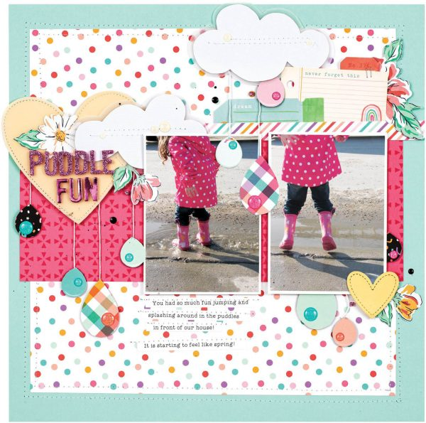 Scrapbook & Cards Today - Spring 2020 - Puddle Fun layout by Nicole Nowosad
