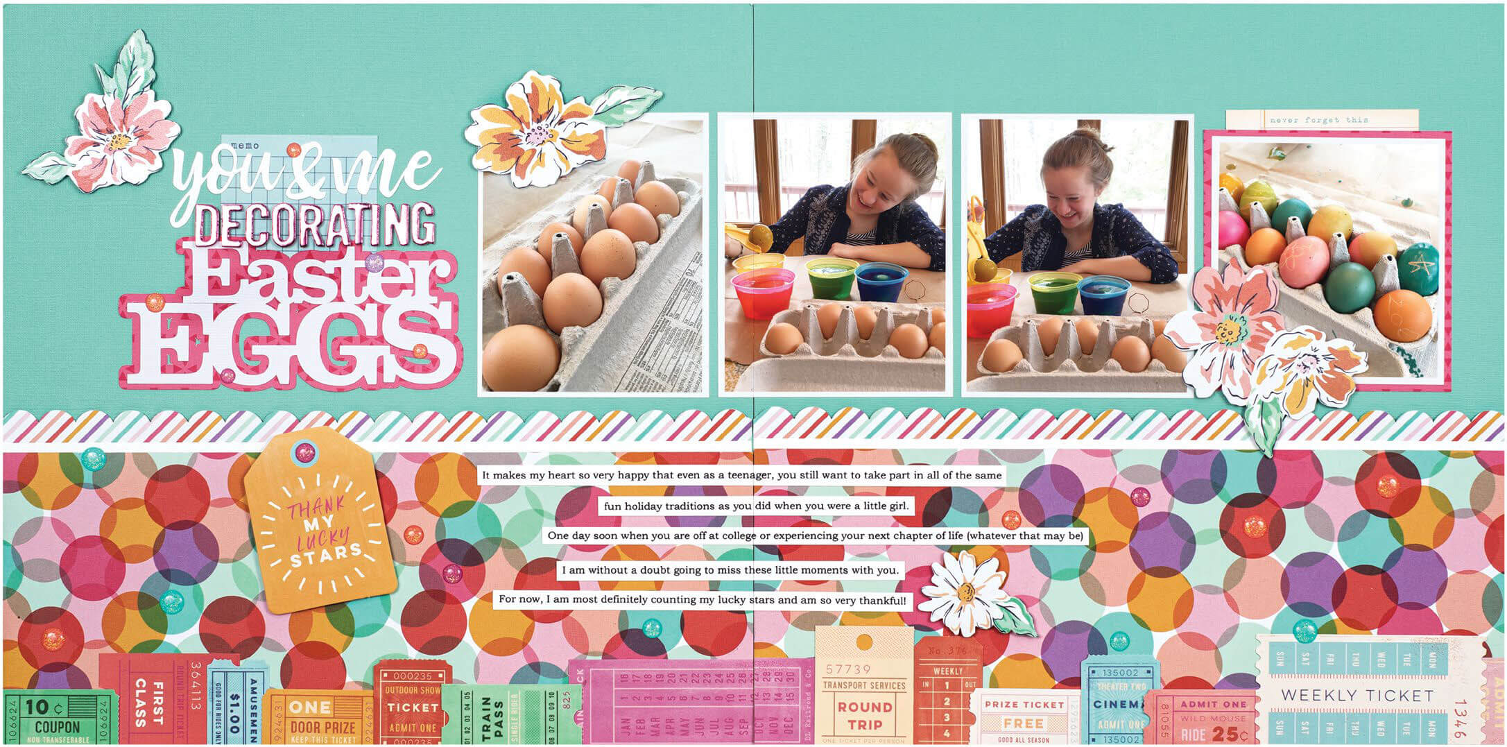 Scrapbook & Cards Today - Spring 2020 - Decorating Easter Eggs Layout by Jennifer Davis