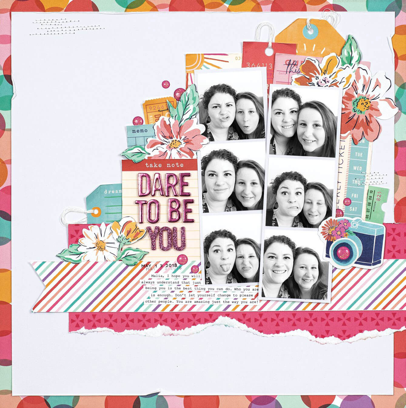 Scrapbook & Cards Today - Spring 2020 - Dare To Be You layout by Jen Schow