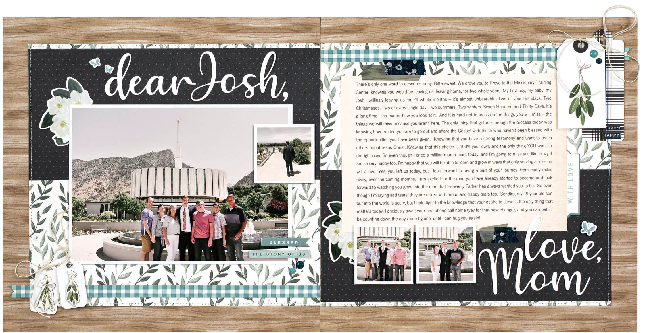 Scrapbook & Cards Today - Spring 2020 - Dear Josh layout by Wendy Sue Anderson