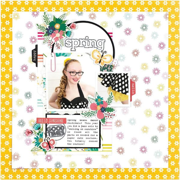 Scrapbook & Cards Today - Spring 2020 - Spring layout by Lorelei Murphy
