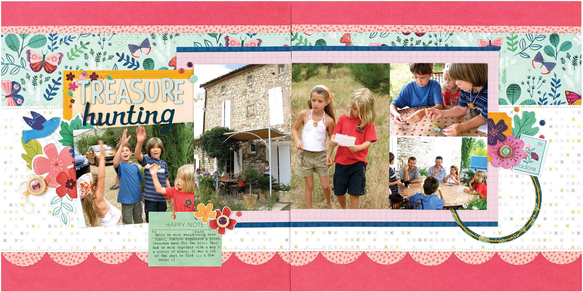 Scrapbook & Cards Today - Spring 2020 - Treasure Hunting layout by Nathalie Leonelli