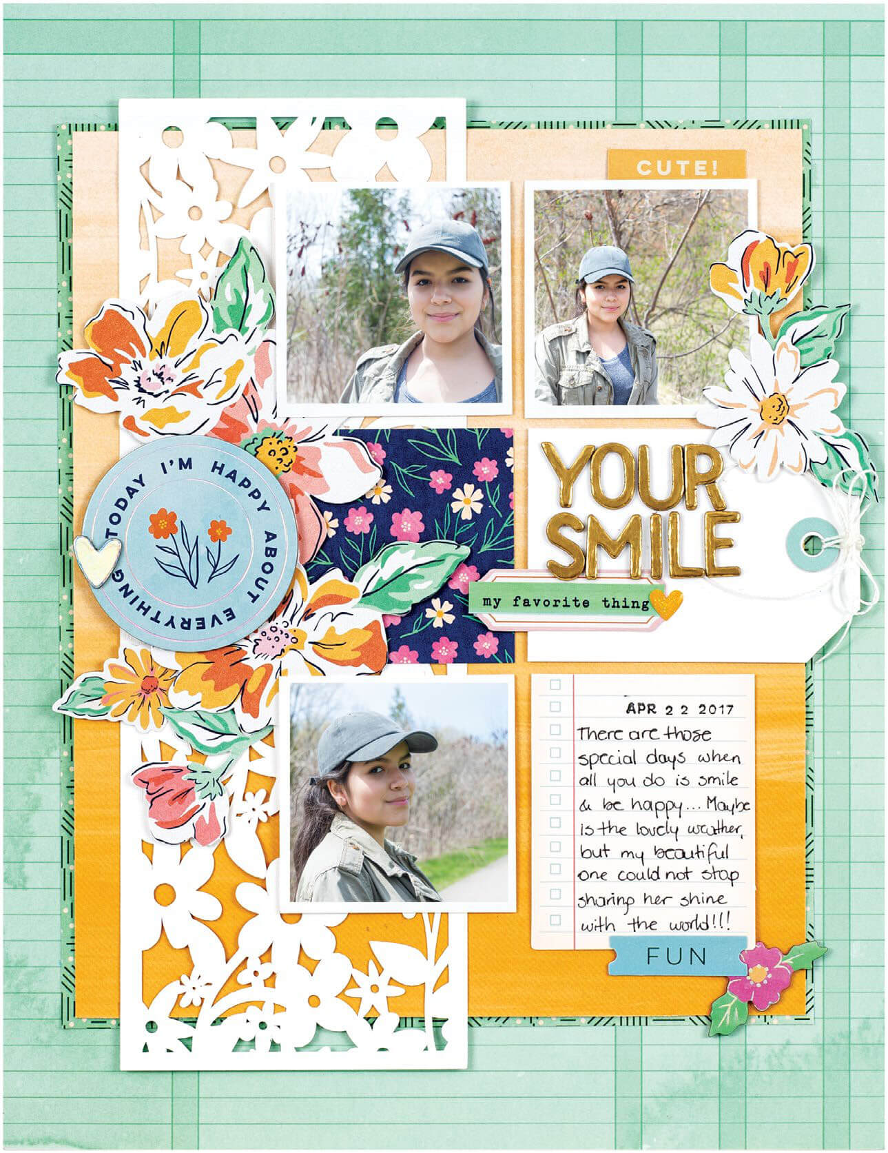 Scrapbook & Cards Today - Spring 2020 - Your Smile layout by Nathalie Desousa