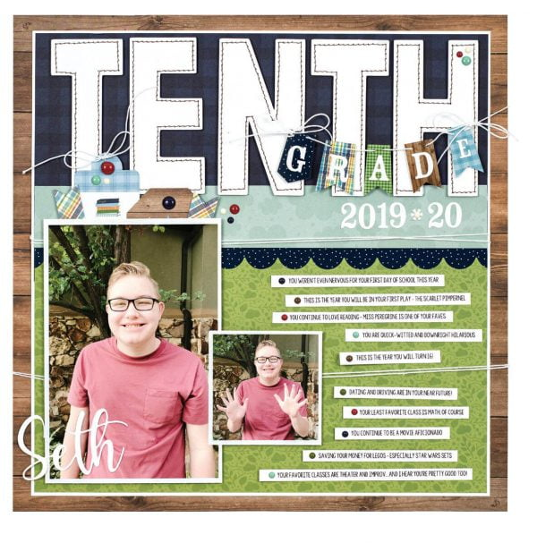 Scrapbook & Cards Today - Spring 2020 - Tenth Grade layout by Wendy Sue Anderson