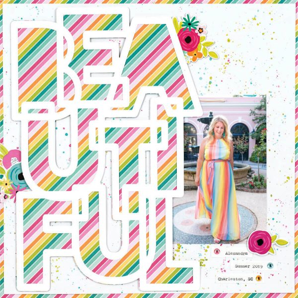 Scrapbook & Cards Today - Spring 2020 - Beautiful layout by Ali Skifton