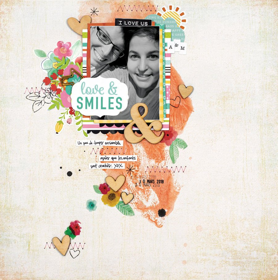 Scrapbook & Cards Today - Spring 2020 - Love & Smiles layout by Aurelie Cormier
