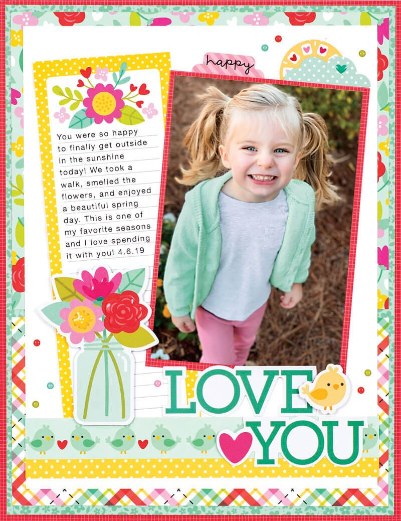 Scrapbook & Cards Today - Spring 2020 - Love You layout by Traci Penrod