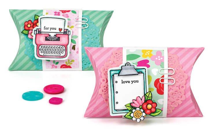 Scrapbook & Cards Today - Spring 2020 - Spring Pillow Boxes by Karen Hanson