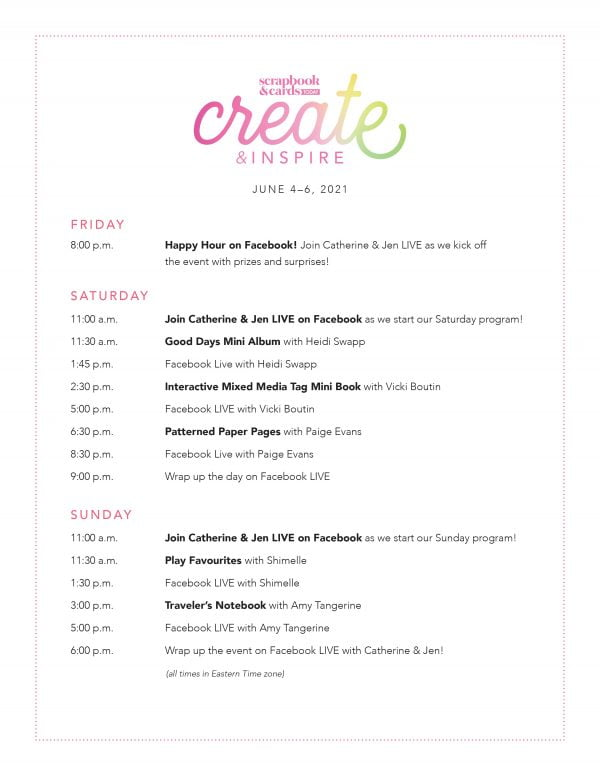 Create & Inspire June 2021 Schedule